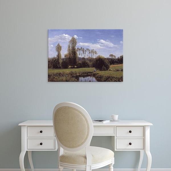 Easy Art Prints Claude Monet's 'View At Rouelles, Le Havre' Premium Canvas Art