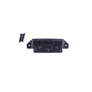 Cabinet or Drawer Bin Pull Black Iron Cup 4 W x 1 1/2 H Pack of 4