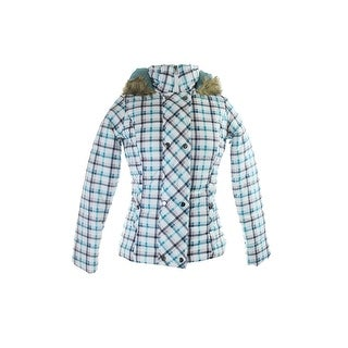 Krush Teal Faux-Fur Hooded Double-Breasted Checkered Jacket L