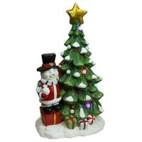 "23"" Christmas Morning Pre-Lit LED Tree with Santa Snowman Musical Christmas Tabletop Decoration - RED"