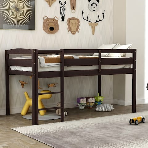 Twin Wood Loft Bed Low Loft Beds with Ladder,Twin