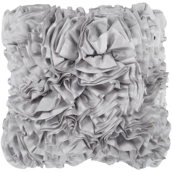 "18"" Fossil Gray Ruffled Elegance Chevron Decorative Throw Pillow- Down Filler"