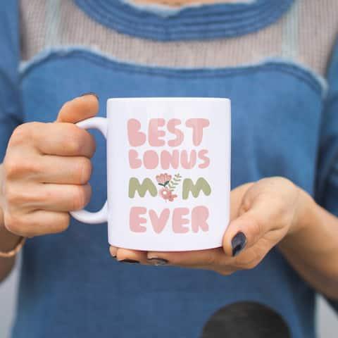 Best Bonus Mom Ever Flower Mugs Mothers Day Gifts For Stepmom or Godmother