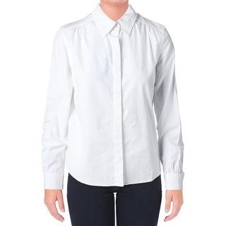 Lauren Ralph Lauren Womens Petites Button-Down Top Pocket Long Sleeves