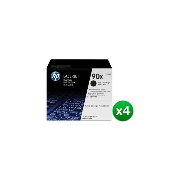 HP 90X High Yield Black Original LaserJet Toner Dual Cartridges (CE390XD)(4-Pack)