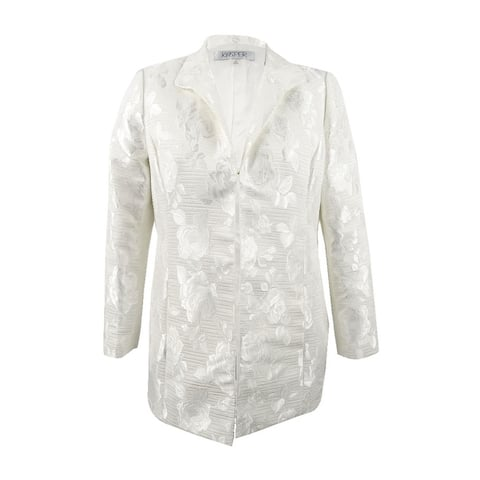 Kasper Women's Plus Size Jacquard Topper Jacket