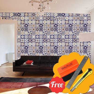 "Walplus Royal Blue Backsplash Tile Stickers Peel and Stick Sticker 24pcs 8""x8"""