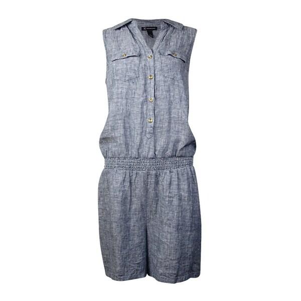 INC International Concepts Women's Blouson Linen Romper - INDIGO