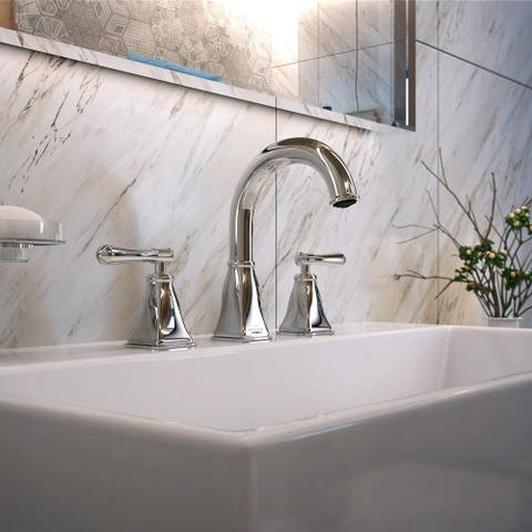 Aurora Collection. Widespread bathroom faucet. Chrome finish. By Lulani