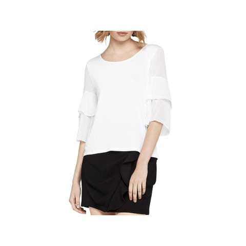BCBGeneration Womens Blouse Tiered Ruffled