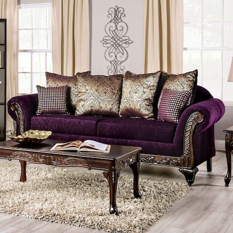 Furniture of America Grendel Traditional Purple Chenille Sofa
