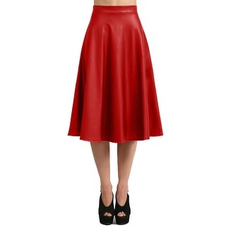 NE PEOPLE Women's Faux Leather Midi Skirt Made In USA S-3XL [NEWSK33]