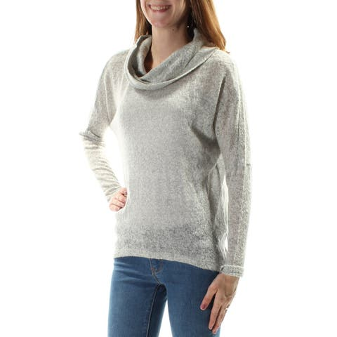 BAR III Womens Gray Sheer Long Sleeve Cowl Neck Sweater Plus Size: 2X