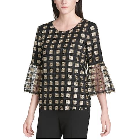 Calvin Klein Womens Net Bell Sleeve Knit Blouse, black, Large