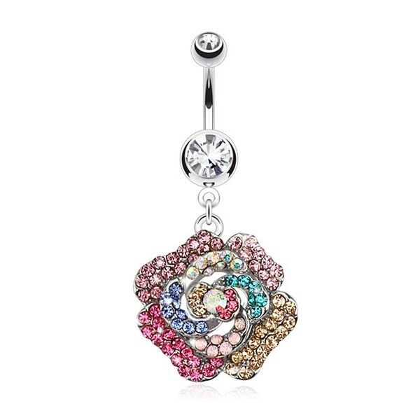 Rose Multi Colored Gem Paved Dangle Navel Belly Button Ring 316L Surgical Steel (Sold Ind.)