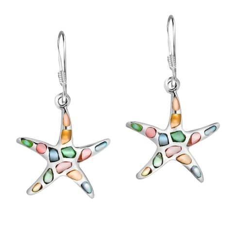 Handmade Mystical Sea Life Starfish IInlay Sterling Silver Dangle Earrings (Thailand)