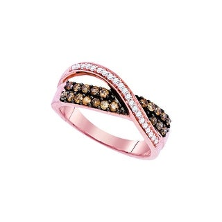 10kt Rose Gold Womens Round Cognac-brown Colored Diamond Crossover Band Fashion Ring 1/2 Cttw - Brown/White
