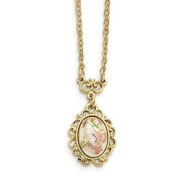 Goldtone Downton Abbey Acrylic Flower Decal Stone Necklace - 16in