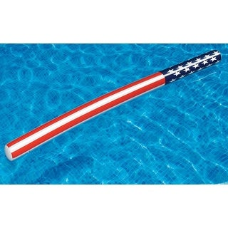 """72"""" Red, White and Blue Patriotic Stars and Stripes Inflatable Swimming Pool Doodle Float Toy"""