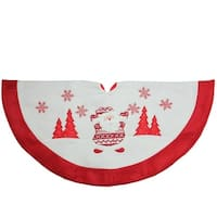 "33"" Red and White Knit Santa Claus Embroidered Christmas Tree Skirt"