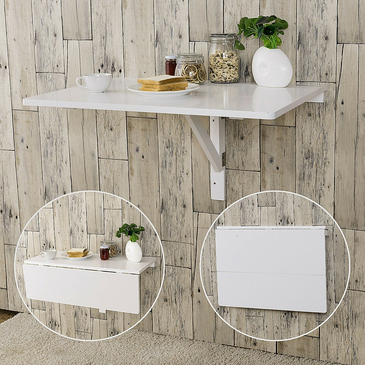 Gymax Wall Mounted Drop Leaf Table Folding Kitchen Dining Desk E Saver White