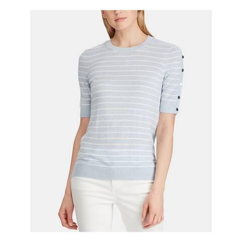 RALPH LAUREN Womens Light Blue Striped Short Sleeve Top Size XXL