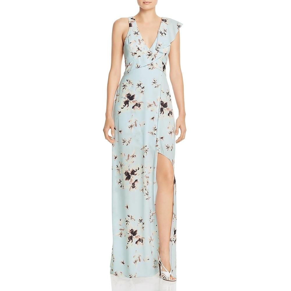 BCBG Max Azria Womens Evening Dress Floral V-Neck - Divine Bloom Light Blue