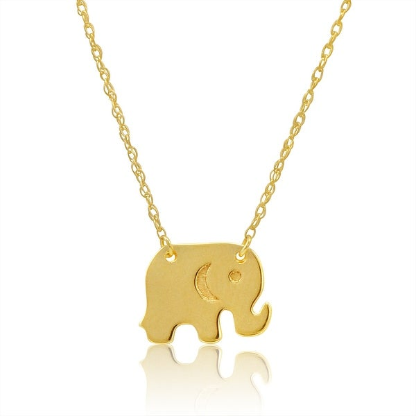 Amanda Rose 14k Yellow Gold Lucky Elephant Necklace on a 16-18 in. Adjustable Chain