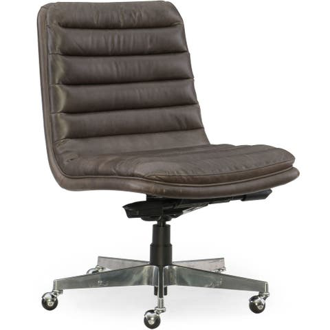 Hooker Furniture EC591-CH-097 Adjustable Height Leather Office Chair - Memento Medal with Chrome
