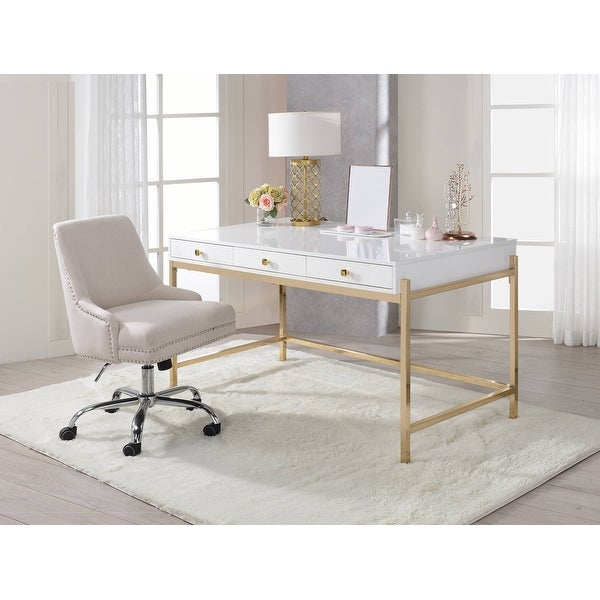 ACME Ottey Desk in White High Gloss & Gold. Opens flyout.