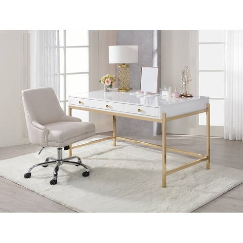 ACME Ottey Desk in White High Gloss & Gold