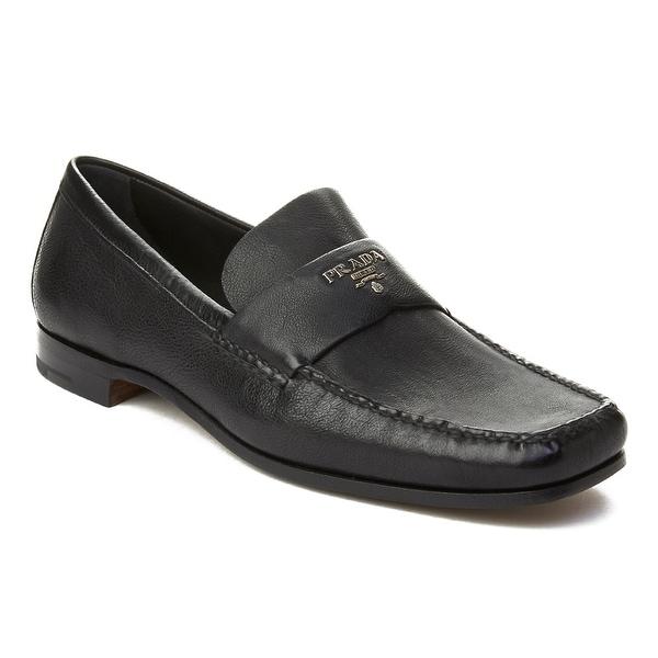 Prada Men's Leather Embellished Penny Loafer Shoes Black