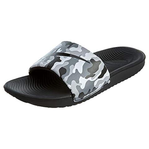 Nike Youth Boys Kawa Print Slides (Wolf Grey/Black)
