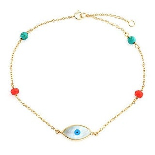 Bling Jewelry 925 Sterling Silver Gold Plated Beaded Evil Eye Anklet