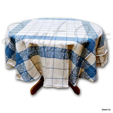Jacquard Berry Leaf Cotton Floral Round Tablecloth Rectangle, Square, Napkin, Towel, Blue Beige