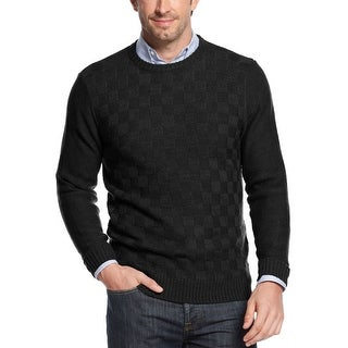 Geoffrey Beene Sweater Small S Black Solid Check Crewneck Pullover