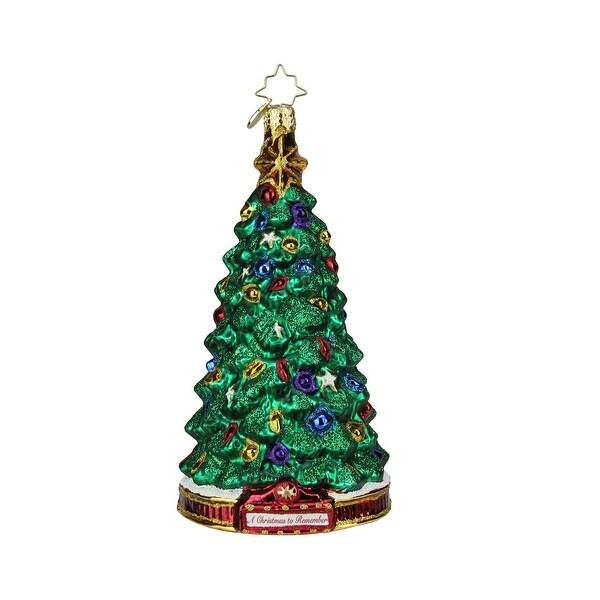 "7"" Christopher Radko ""Perfect Pine"" Glass Christmas Tree Ornament #1019594 - green"