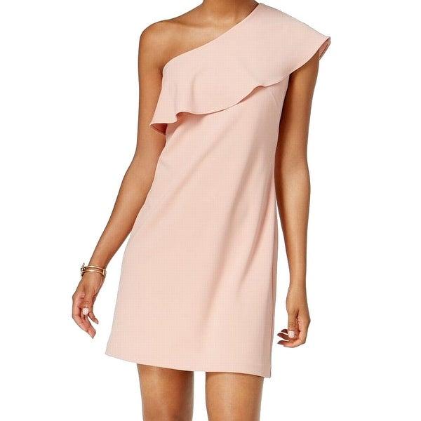 ecfbb22ba85 Shop Julia Jordan Pink Women's Size 6 One-Shoulder Ruffled Shift Dress - On  Sale - Free Shipping On Orders Over $45 - Overstock - 27050433