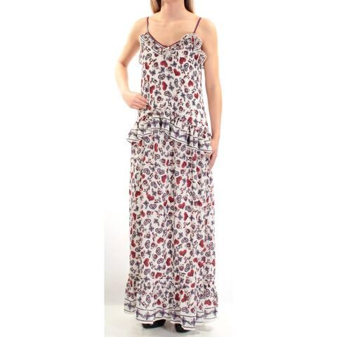694727e143f MAX STUDIO Womens Red Spaghetti Strap V Neck Maxi Shift Dress Size  XS
