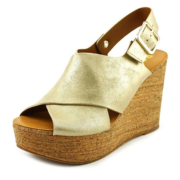 BC Footwear Cougar II Women Open Toe Synthetic Gold Wedge Sandal