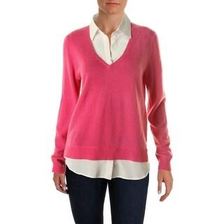 Ralph Lauren Womens Pullover Sweater Cashmere Faux Shirt Collar
