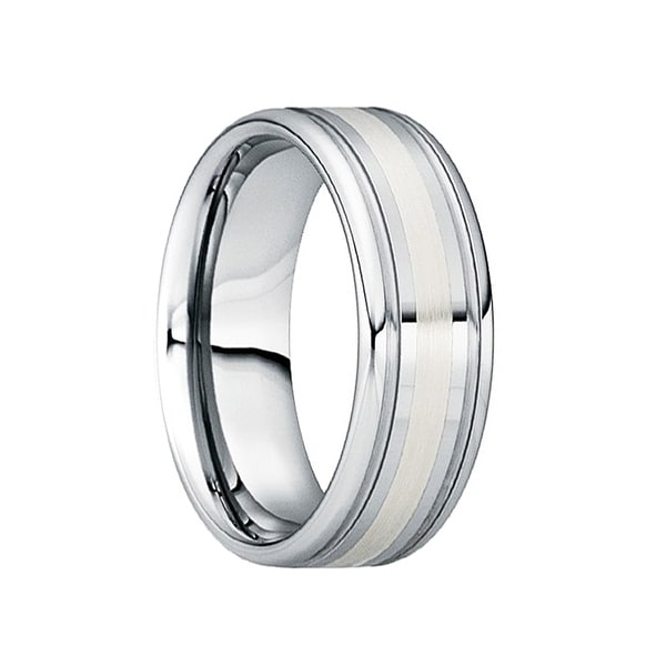 CAIUS Tungsten Wedding Ring with 18K White Gold Inlay & Dual Groove Edges by Crown Ring