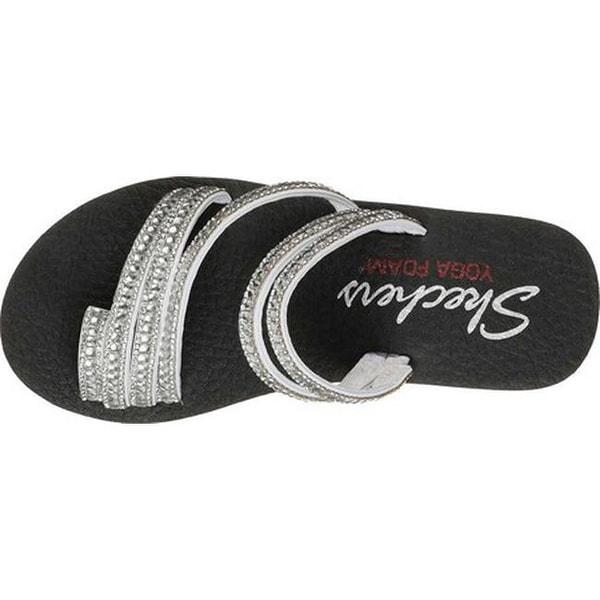 Skechers Women/'s Meditation Glam Finish Slip On Sandal Black