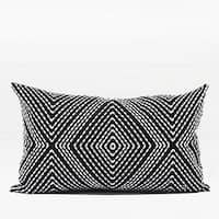 "G Home Collection Luxury Black and White Diamond Embroidered Pillow 12""X20"""