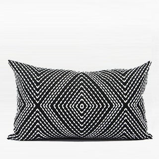 """G Home Collection Luxury Black and White Diamond Embroidered Pillow 12""""X20"""""""