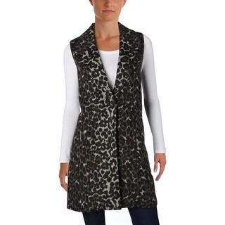 T Tahari Womens Demra Casual Vest Leopard Print Notch Collar Brown S