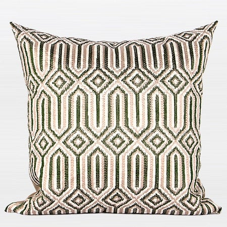 "G Home Collection Luxury Green Classical Geometry Pattern Embroidered Pillow 20""X20"""