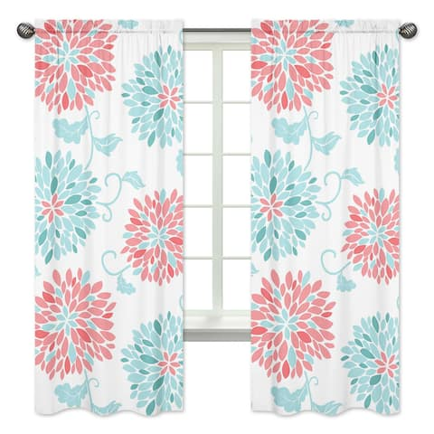 Sweet Jojo Designs Emma Collection Coral/Turquoise/White Microfiber Curtain Panel Pair
