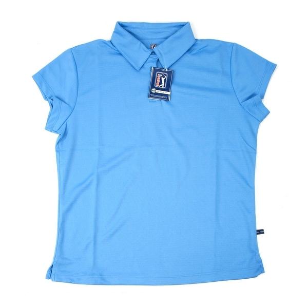 PGA TOUR Women's Polo Shirt - Baby Blue Solid - Small