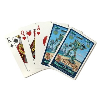 San Diego, California vs. The Atlantean Invaders - Lantern Press Artwork (Poker Playing Cards Deck)